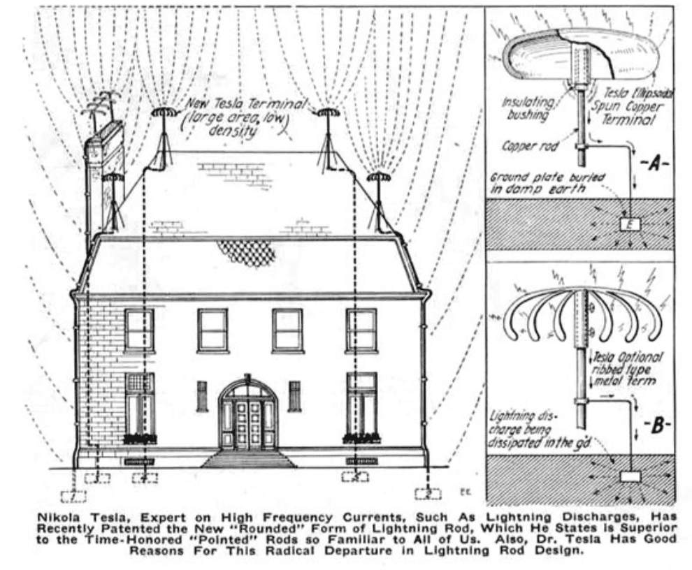 """Nikola Tesla, Expert on High Frequency Currents, such as lightning discharges, has recently patented the new """"Rounded"""" form of lightning rod, which he states is superior to the time-honored """"Pointed"""" rods so familiar to all of us. Also, Dr Tesla has good reasons for this radical departure in lightning rod design."""